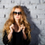 красивая · девушка · большой · черный · очки · портрет - Сток-фото © dashapetrenko