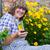 bahçe · şapka · çiçekler · eldiven · bahçıvanlık · sandalye - stok fotoğraf © dashapetrenko