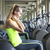 side view of young fit woman doing sit ups on exercise ball stock photo © dashapetrenko