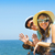 portrait of a smiling couple at beach in the car stock photo © dashapetrenko