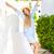 nő · szalmakalap · vízpart · mosolygó · nő · mosolyog · kamerába - stock fotó © dashapetrenko