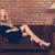 belle · femme · blonde · séance · luxe · sous-vêtements · tapis - photo stock © dashapetrenko