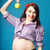 happy young funny pregnant woman in pin up style stock photo © dashapetrenko