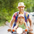 happy young father and little daughter riding a vintage scooter stock photo © dashapetrenko