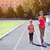 mother and little daughter are doing exercise in the stadium he stock photo © dashapetrenko
