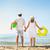 mulher · homem · abrir · mãos · coberto · areia · da · praia - foto stock © dashapetrenko