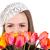 cute · fille · parisien · style · tulipe · fleurs - photo stock © dashapetrenko