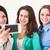 trzy · uśmiechnięty · nastolatki · smartphone · kamery - zdjęcia stock © dashapetrenko