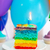 rainbow cake decorated with birthday candle stock photo © dashapetrenko