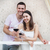 appy couple enjoying a glasses of red wine indoors stock photo © dashapetrenko