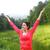 vrouw · handen · omhoog · top · berg · wandelaar · rugzak - stockfoto © dashapetrenko