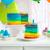 rainbow cake decorated with birthday candle stock photo © dashapetrenko