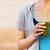 vrouw · drinken · plantaardige · smoothie · fitness · lopen - stockfoto © dashapetrenko