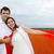 jeunes · heureux · couple · amour · rouge · tissu - photo stock © dashapetrenko