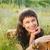sorridere · ragazza · campo · girasoli · faccia · felice - foto d'archivio © dashapetrenko