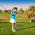 cute little girl playing golf on a field outdoor stock photo © dashapetrenko