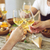 hands with white wine glasses stock photo © dashapetrenko
