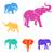 elefántok · szín · szett · grunge · textúra · terv · művészet - stock fotó © Dashikka