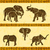 africano · elefantes · savana · ilustração · isolado · branco - foto stock © dashikka