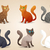 set of cute cartoon cats with different colored fur and type of coat breeds isolated stock photo © dashikka