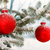 Red Christmas baubles on a snowy scene stock photo © david010167