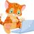 Cute · кошки · ноутбука · открытых · ребенка - Сток-фото © dazdraperma