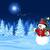 bonhomme · de · neige · écharpe · chapeau · bleu · neige · paysage - photo stock © dazdraperma