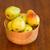 madeira · tigela · fresco · peras · mão · mesa · de · madeira - foto stock © dbvirago