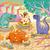 cute · dinosauri · fiore · cat · sfondo · animali - foto d'archivio © ddraw