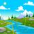 folyó · illusztráció · tavasz · nyár · rajz · tájkép - stock fotó © ddraw