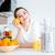 portre · genç · kadın · narenciye · portakal · suyu · gıda · kadın - stok fotoğraf © deandrobot