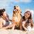 mutlu · aile · oynama · köpek · plaj · mutlu · genç - stok fotoğraf © deandrobot