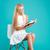 portret · aantrekkelijk · jonge · vrouw · Blauw · boek · business - stockfoto © deandrobot