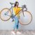 mulher · bicicleta · ombro · sorridente · mulher · jovem - foto stock © deandrobot