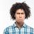 afro · americano · uomo · i · capelli · ricci · guardando · distanza - foto d'archivio © deandrobot
