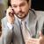 怒っ · ビジネスマン · 携帯電話 · クローズアップ · 肖像 · 白 - ストックフォト © deandrobot