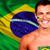 feliz · ventilador · Brasil · bandeira · futebol - foto stock © deandrobot
