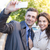 cheerful couple making selfie photo outdoors stock photo © deandrobot