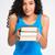 feliz · africano · americano · mulher · livros - foto stock © deandrobot