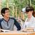 vrouw · virtueel · realiteit · hoofdtelefoon · buitenshuis - stockfoto © deandrobot