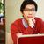 portré · figyelmes · ázsiai · férfi · szemüveg · iroda - stock fotó © deandrobot