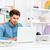 pensativo · jovem · casual · empresário · usando · laptop · escritório - foto stock © deandrobot
