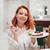 женщину · еды · торт · магазин - Сток-фото © deandrobot