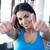 スポーティー · 女性 · 親指 · アップ · にログイン - ストックフォト © deandrobot
