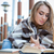 женщину · чтение · книга · кафе · портрет · привлекательный - Сток-фото © deandrobot