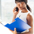 mujer · de · negocios · hablar · teléfono · oficina · encantador · afro - foto stock © deandrobot