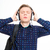 young male listening to music with eyes closed stock photo © deandrobot