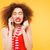 shocked bright model talking at phone with closed eyes stock photo © deandrobot