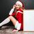 mulher · jovem · vermelho · traje · conselho · menina - foto stock © deandrobot