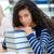 jeunes · étudiant · séance · table · livres · regarder - photo stock © deandrobot